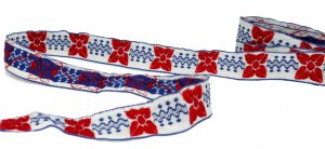 "Red, White and Blue Festive Trim - 1"" Wide - 2 1/2 Yards"