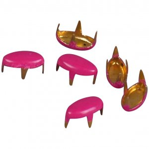 Hot Pink Enameled Metal Oval Studs - 6mm