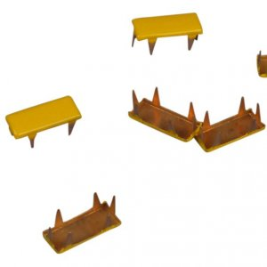 Yellow Metal Rectangle Studs - 11mm