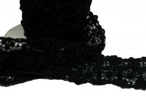 Black Rigid Lace - 2 1/2 inch Wide - 2 Yards