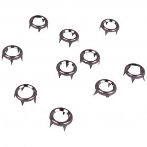 Silver Metal Open Round Studs with Rivets - 6mm