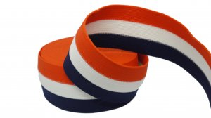 Orange, White and Navy Striped Elastic - 2 1/2 inch - 1 Yard
