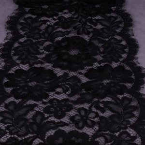 Black Lace Fabric - 9 1/2 inch wide - 4 1/3 Yard