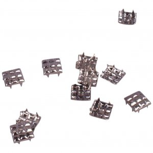 Silver Quilted Metal Square Studs - 12mm