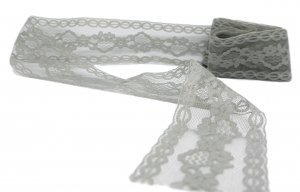 "Dark Grey Vintage Lace - 1 3/4"" Wide - 2 1/2 Yards"