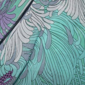 Purple & Green Anenome Georgette - 60 inch wide - 1 Yard