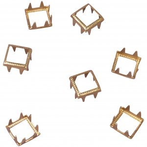 Vintage Retro Gold Metal Open Square Studs - 13mm