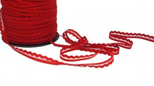 Red Picot with Clear Center Elastic