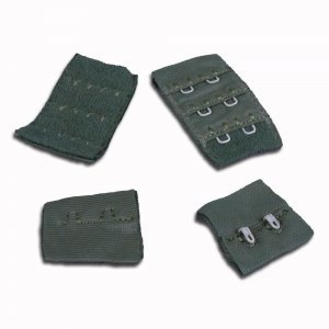 Medium Army Green Hook & Eye - 2 rows - 1 Pair