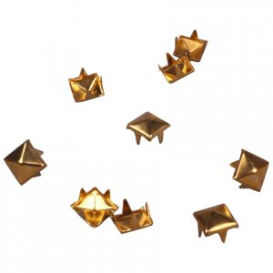 Gold Metal Pyramid Square Studs - 6mm