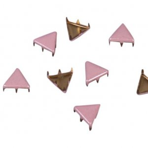 Pink Metal Triangle Studs - 9mm
