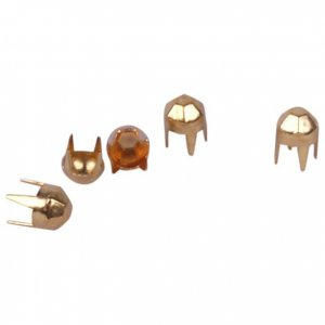 Gold Dome Pyramid Metal Round Studs - 4mm