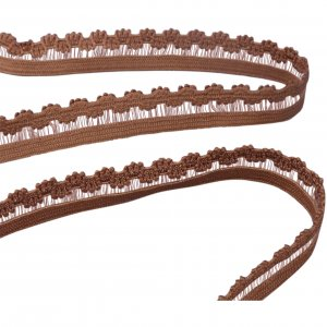 Brown Picot with Clear Center Elastic - 5 Yards