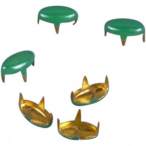 Green Enameled Metal Oval Studs - 6mm