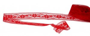 "Red Vintage Lace - 7/8"" Wide - 3 Yards"