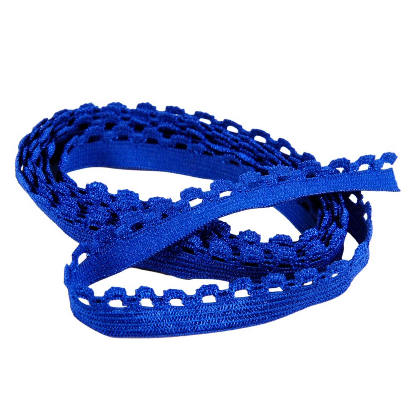 Royal Blue Picot Edge Elastic - 1/2 inch or 12mm