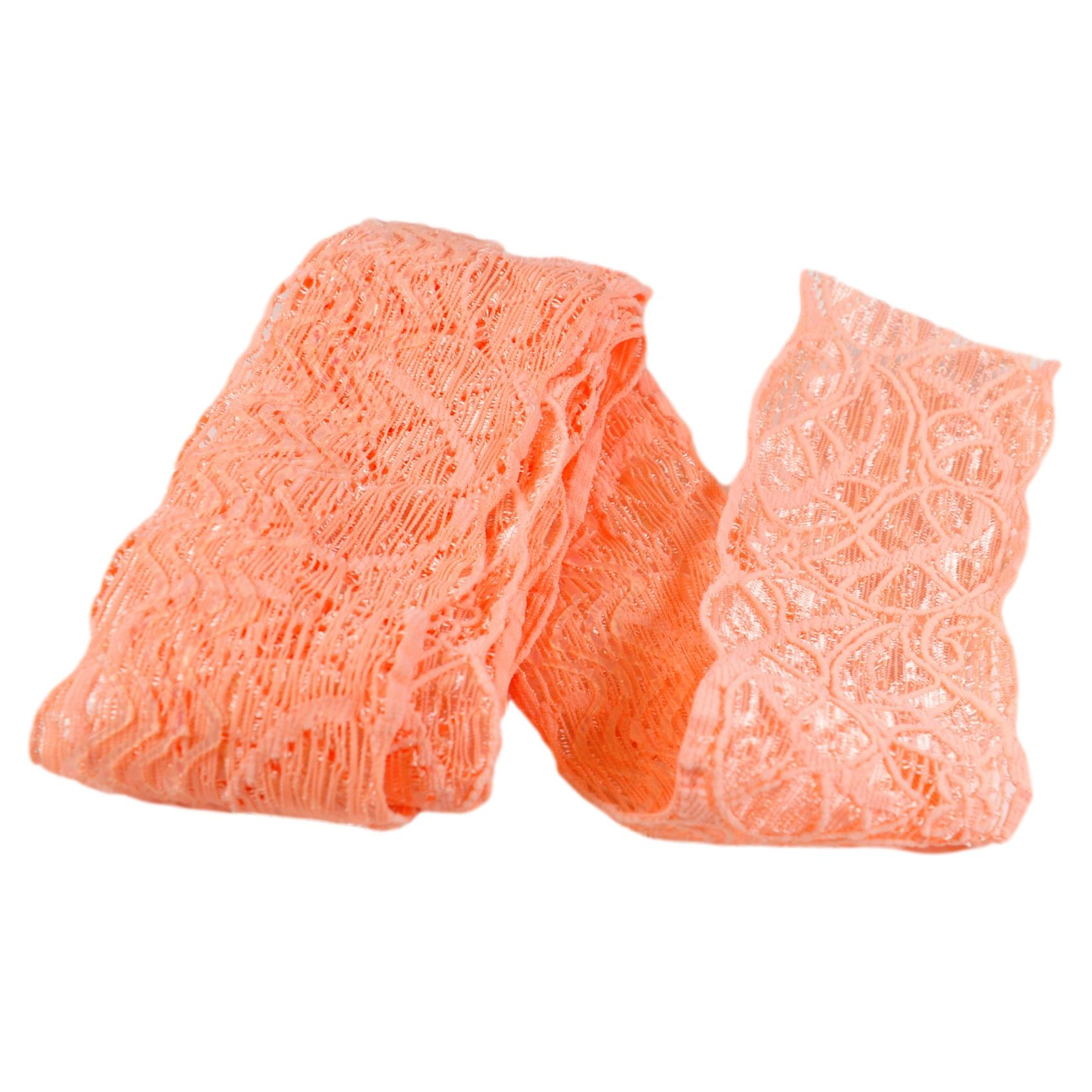 "Floral Bright Coral Peach Stretch Lace is 2"" Wide with Silicone"