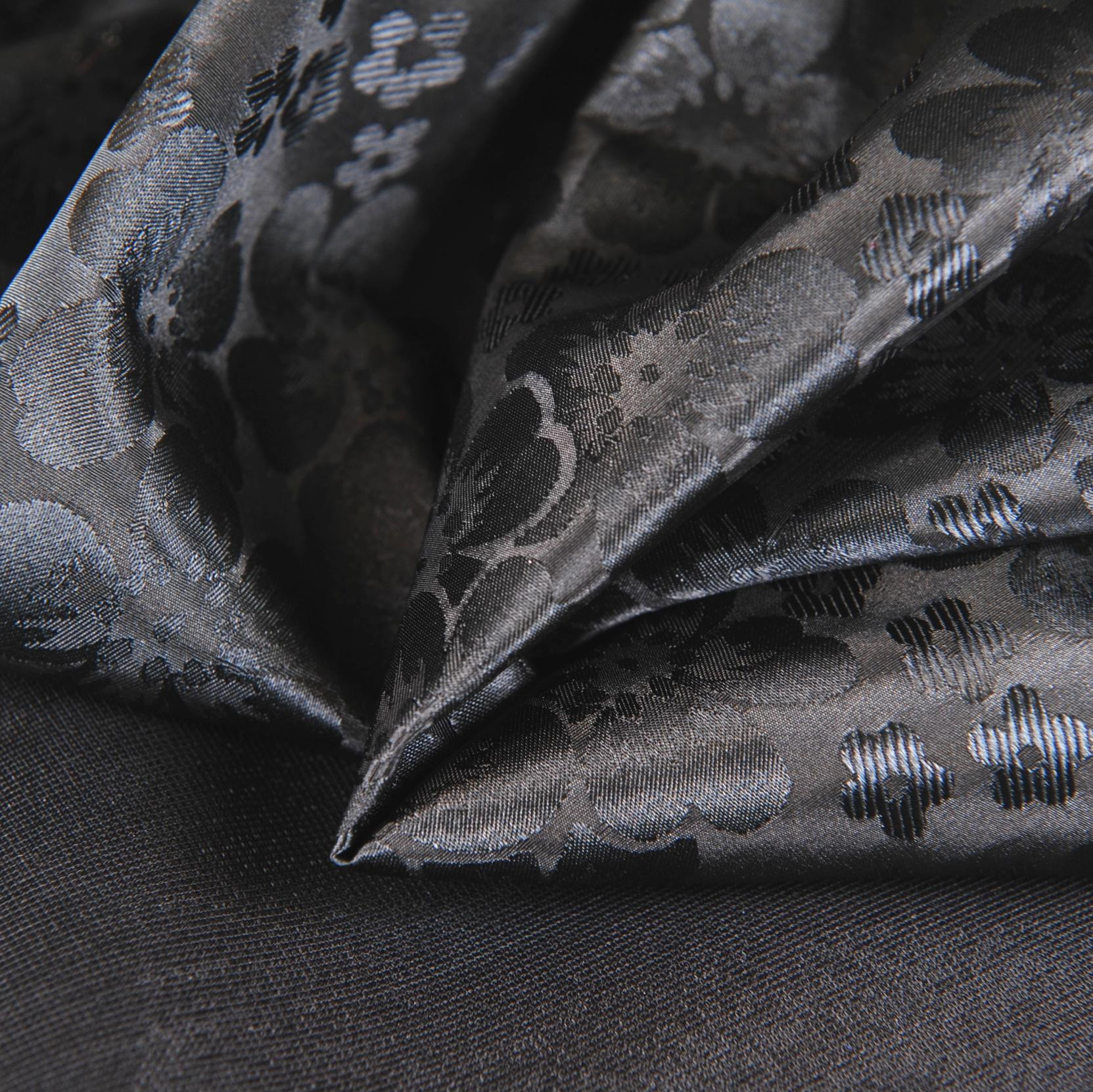 "Stabilized Black Flower Satin Bra Cup Fabric - 58"" Wide - 1 Yard"